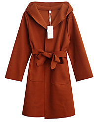Недорогие -женская длинная шерсть - сплошной цвет с капюшоном