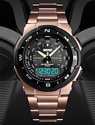 Недорогие -SKMEI Муж. Спортивные часы электронные часы Цифровой Нержавеющая сталь Черный / Серебристый металл / Золотистый 50 m Защита от влаги Календарь С двумя часовыми поясами Аналого-цифровые / Хронометр