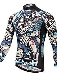 baratos -XINTOWN Homens Manga Longa Camisa para Ciclismo - Branco Moto Camisa / Roupas Para Esporte, Respirável, Secagem Rápida, Resistente Raios Ultravioleta, Inverno Padrão / Com Stretch