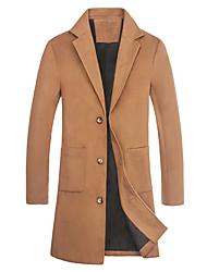 Недорогие -Муж. Пальто Классический / Уличный стиль - Однотонный / Современный стиль