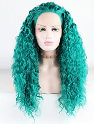 Недорогие -Синтетические кружевные передние парики Жен. Волнистые / Loose Curl Зеленый Свободная часть 180% Человека Плотность волос Искусственные волосы 18-26 дюймовый / Лента спереди / Жаропрочная