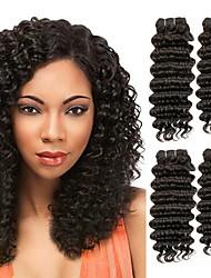 Недорогие -3 Связки Евро-Азиатские волосы Крупные кудри 8A Натуральные волосы Необработанные натуральные волосы Человека ткет Волосы Удлинитель Пучок волос 8-28 дюймовый Черный Естественный цвет