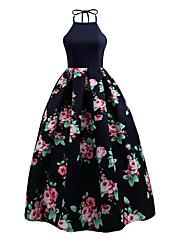 Недорогие -женская сторона оболочка / линия платье высокой талии длиной до колен шея