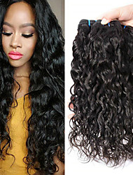 Недорогие -3 Связки Малазийские волосы Волнистые 8A Натуральные волосы Необработанные натуральные волосы Подарки Человека ткет Волосы Пучок волос 8-28 дюймовый Естественный цвет Ткет человеческих волос