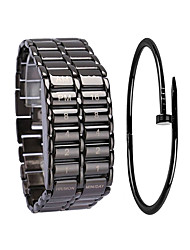 Недорогие -Муж. Спортивные часы электронные часы Цифровой Подарочный набор Нержавеющая сталь Черный / Серебристый металл 30 m Секундомер Творчество Новый дизайн Цифровой Кольцеобразный Мода - / Один год