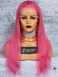 Недорогие -Не подвергавшиеся окрашиванию Полностью ленточные Парик Бразильские волосы Шелковисто-прямые Розовый Парик Глубокое разделение С конским хвостом 150% Плотность волос / с детскими волосами