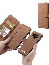 Недорогие -Кейс для Назначение SSamsung Galaxy Note 9 / Note 8 Кошелек / Бумажник для карт / Защита от удара Чехол Однотонный Твердый Настоящая кожа