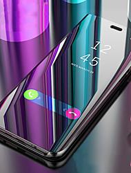 Недорогие -Кейс для Назначение Apple iPhone XS / iPhone XR со стендом / Зеркальная поверхность / Флип Чехол Однотонный Твердый Кожа PU для iPhone XS / iPhone XR / iPhone XS Max