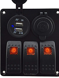 baratos -3 gang roqueiro interruptor do painel com tomada de corrente 3.1a dupla usb kits de fiação e etiquetas autocolante decalque dc12v / 24v para o barco do barco do carro marinha caminhão veículos