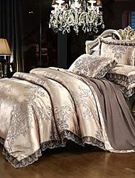 Недорогие -пододеяльники роскошные шелковые / хлопковые смеси реактивной печати 4 шт наборы постельных принадлежностей />800 / 4шт (1 пододеяльник, 1 плоский лист, 2 шамана) королева