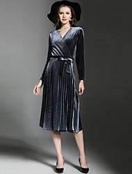 billige -Dame Elegant A-linje Kjole - Ensfarvet, Flettet Midi
