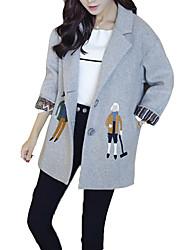 お買い得  -女性のルーズコート - 人シャツの襟