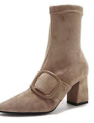 billige -Dame Fashion Boots PU Efterår Minimalisme Støvler Kraftige Hæle Spidstå Støvletter Sort / Mandel