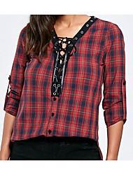 billige -kvinders bomuldskjorte - farveblok / stribet v-hals