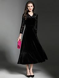 billige -Dame Elegant A-linje Kjole - Ensfarvet, Blonder Maxi