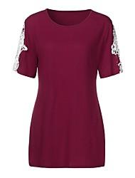 billige -Dame - Ensfarvet Blonder Basale T-shirt