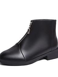 Недорогие -Жен. Fashion Boots Полиуретан Зима Ботинки На толстом каблуке Круглый носок Ботинки Черный / Красный