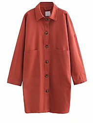Недорогие -рубашка негабаритной женской хлопчатобумажной ткани - сплошной цветной воротник рубашки