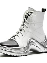 billiga -Dam Fashion Boots Nappaskinn Höst Stövlar Platt klack Stängd tå Korta stövlar / ankelstövlar Vit / Svart