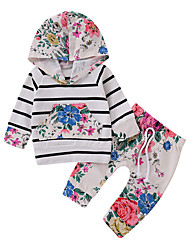 abordables -bébé Fille Décontracté / Actif Quotidien / Sortie Fleur Manches Longues Normal Coton / Polyester Ensemble de Vêtements Blanc / Bébé