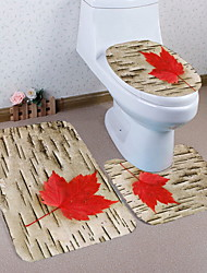 abordables -3 Pièces Moderne Tapis Anti-Dérapants Polyester Elastique Tissé 100g / m2 Créatif Ovale / Rectangle Salle de Bain Design nouveau