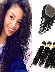 Недорогие -4 комплекта с закрытием Малазийские волосы Крупные кудри 10A человеческие волосы Remy Накладки из натуральных волос Волосы Уток с закрытием 8-26 дюймовый Нейтральный Ткет человеческих волос 4x4