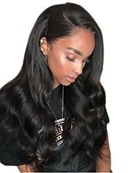 Недорогие -человеческие волосы Remy Необработанные натуральные волосы Полностью ленточные Парик Стрижка каскад Боковая часть стиль Бразильские волосы Естественные кудри Черный Парик 130% Плотность волос