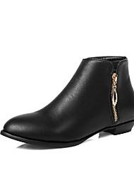 Недорогие -Жен. Fashion Boots Полиуретан Наступила зима Ботинки На низком каблуке Ботинки Черный / Миндальный