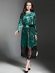 billige -Dame Elegant A-linje Kjole - Farveblok, Blonder Maxi
