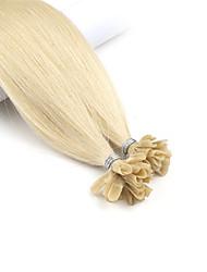 baratos -Neitsi Queratina / Ponta U Extensões de cabelo humano Liso Extensões de Cabelo Natural Cabelo Humano Mulheres - Mel Louro / Platinum Blonde