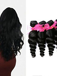cheap -4 Bundles Brazilian Hair Loose Wave 8A Human Hair Unprocessed Human Hair Extension Bundle Hair One Pack Solution 8-28 inch Natural Color Human Hair Weaves Newborn Life Smooth Human Hair Extensions