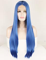 voordelige -Pruik Lace Front Synthetisch Haar Recht / ZijdeRecht Blauw Middelste stuk Blauw 180% Human Hair Density Synthetisch haar 14-26 inch(es) Dames Zijdeachtig / Glad / Verstelbaar Blauw Pruik Lang Kanten