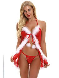 Недорогие -Жен. Супер секси Костюм Ночное белье - Открытая спина, Рождество Однотонный
