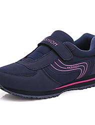 baratos -Mulheres Sapatos Confortáveis Pele Napa Inverno Esportivo / Casual Tênis Caminhada Sem Salto Ponta Redonda Azul Escuro / Roxo