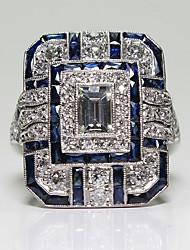 billiga -Dam Kubisk Zirkoniumoxid Vintage Stil Klassisk Bandring Förlovningsring - Sterlingsilver Vintage, Elegant 6 / 7 / 8 / 9 Blå Till Bröllop Förlovning Ceremoni