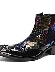 Недорогие -Муж. Платья Наппа Leather Зима Английский Ботинки Сохраняет тепло Ботинки Черный / Винный / Для вечеринки / ужина