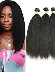 저렴한 -3 개 묶음 브라질리언 헤어 스트레이트 야키 8A 인모 미처리 인모 헤드 피스 인간의 머리 직조 익스텐션 8-28 인치 자연 색상 인간의 머리 되죠 워터팔 코스프레 쉬운 드레싱 인간의 머리카락 확장 여성용