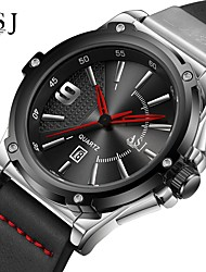 Недорогие -ASJ Муж. Нарядные часы Японский Японский кварц Натуральная кожа Черный / Небесно-голубой 100 m Календарь Аналоговый Классика На каждый день минималист - Черный Серебро / черный / Один год