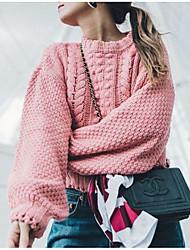 billige -Kvinder går ud i langærmet pullover - solid farvet rund hals