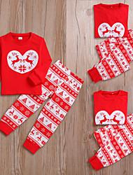 Недорогие -2шт Взрослые / Дети Семейный вид Активный Рождество / Для вечеринок Животное С принтом Длинный рукав Обычный Обычная Хлопок Набор одежды Красный мальчиков 130
