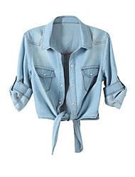 Недорогие -женская хлопчатобумажная рубашка - сплошной цветной воротник рубашки