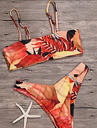 abordables -Femme Basique Licou Rouge Gris Foncé Jaune Bandeau Tanga Tankinis Maillots de Bain - Géométrique Dos Nu / Imprimé S M L / Sexy