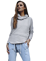 billige -Kvinders weekend langærmet pullover - solidfarvet
