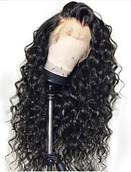 Недорогие -человеческие волосы Remy Необработанные натуральные волосы Полностью ленточные Парик Стрижка каскад стиль Бразильские волосы Свободные волны Черный Парик 130% Плотность волос / Природные волосы