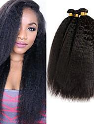 Недорогие -4 Связки Малазийские волосы Яки 8A Натуральные волосы Человека ткет Волосы Пучок волос One Pack Solution 8-28 дюймовый Естественный цвет Ткет человеческих волос