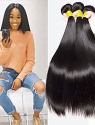 Недорогие -3 Связки Индийские волосы Прямой 8A Натуральные волосы Пучок волос One Pack Solution Накладки из натуральных волос 8-28 дюймовый Естественный цвет Ткет человеческих волос Машинное плетение