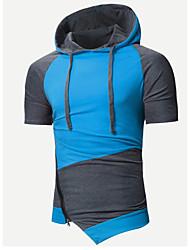 baratos -hoodie magro de manga curta masculina - bloco de cor com capuz