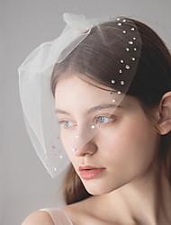 Недорогие -Один слой Европейский стиль Свадебные вуали Короткая фата с Стразы 30 cm Хлопок / нейлон с намеком на участке