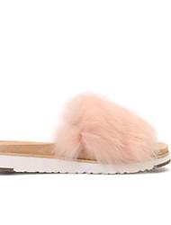 baratos -Mulheres Sapatos Confortáveis Camurça / Pele Verão Chinelos e flip-flops Sem Salto Penas Vermelho / Amêndoa