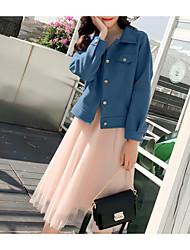 billige -damejakke - solid farvet skjorte krave